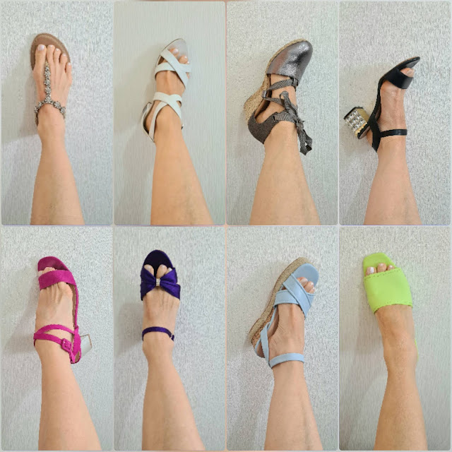 Sandals in different colours owned by blogger Gail Hanlon from Is This Mutton