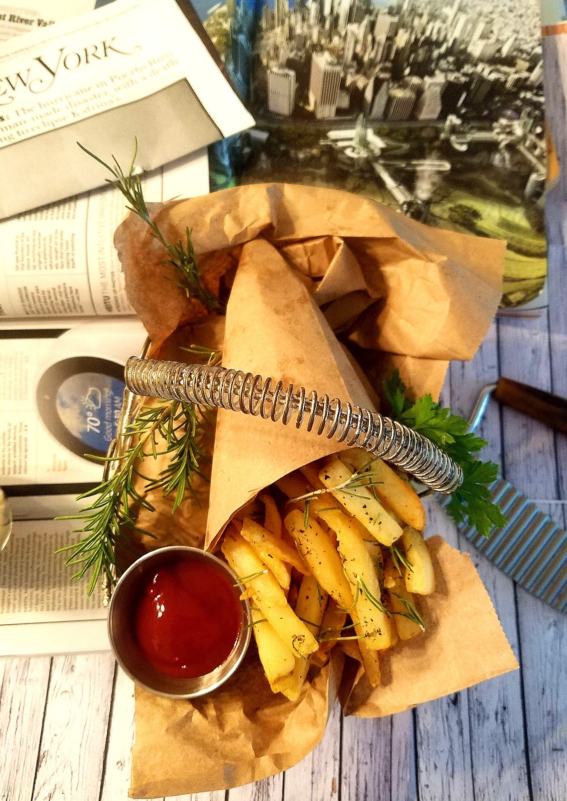 Italian  French Fries seasoned with herbs spices in a basket