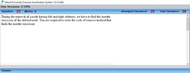 CS301 Current Mid Term Paper Question no 17
