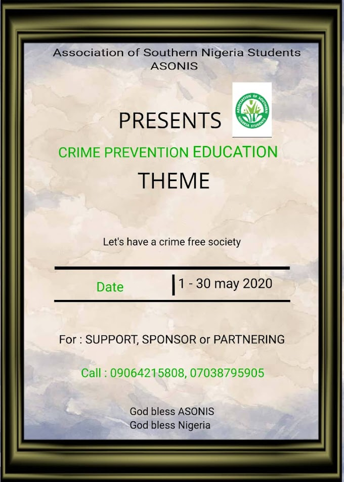 ASONIS TO ORGANIZE AN EDUCATIONAL PROGRAMME AGAINST CRIME- ASONIS NATIONAL PRO REVEALS