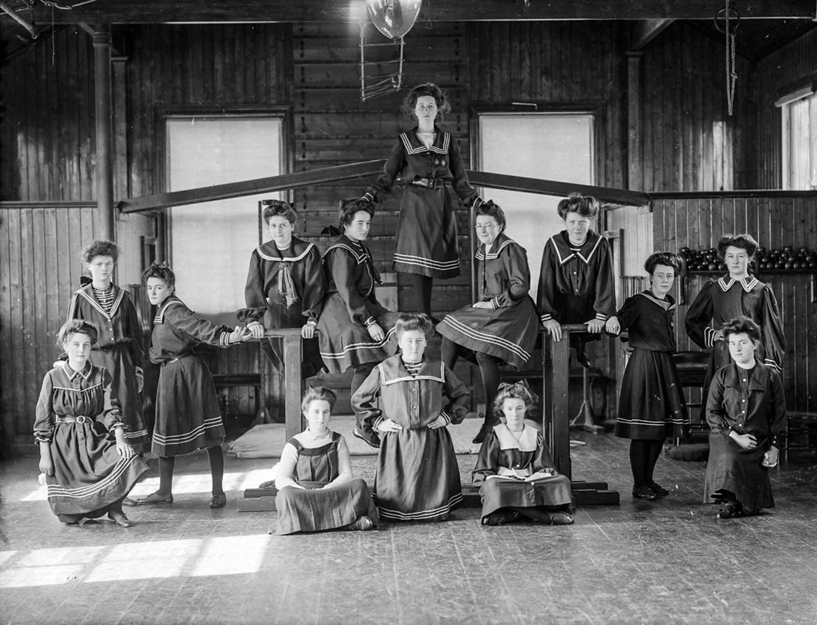 Girls of the Ursuline Convent in Waterford pose in their gymnasium. 1908.