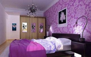 Dekorasi wallpaper kamar tidur warna ungu