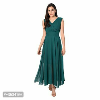 GEORGETTE SOLID MAXI DRESSES