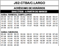Horário de ônibus J62 CURITIBA / CAMPO LARGO 2020 | Campo Largo PR