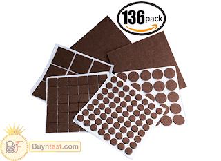 Raniaco 136 pieces Felt Pads with Sturdy Self-Stick Glue & Floor Protectors to Pad