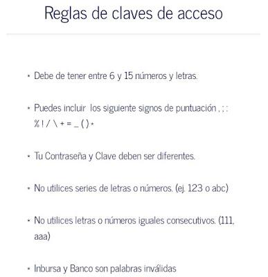 Reglas de clave de acceso Inbursa móvil app