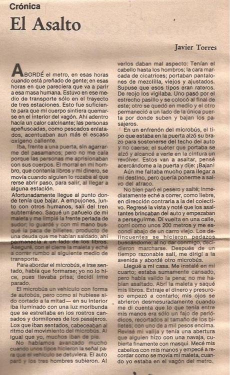 El asalto, cuento de Javier Torres