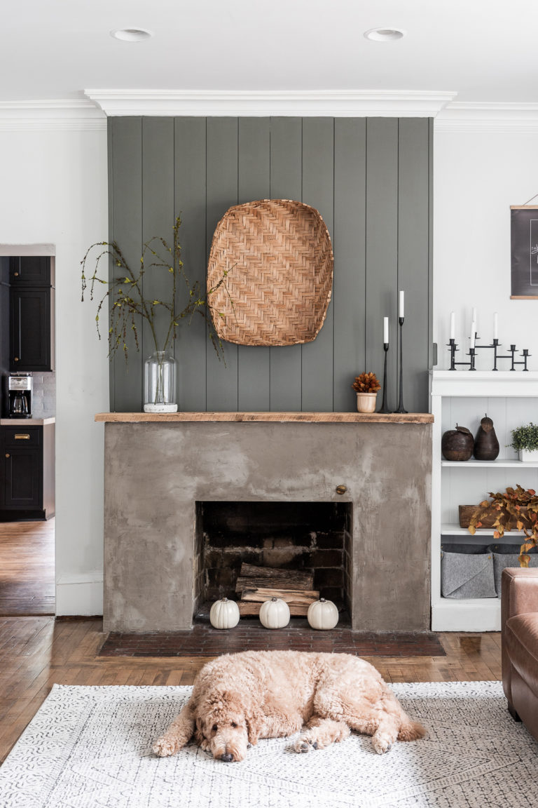 Concrete and shiplap fireplace