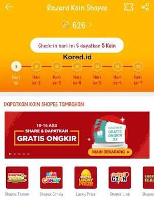 cara mendapatkan reward koin shopee