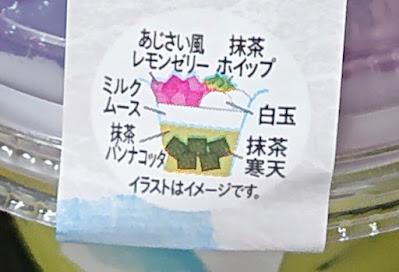 セブンイレブン 宇治抹茶パフェあじさい色のゼリー