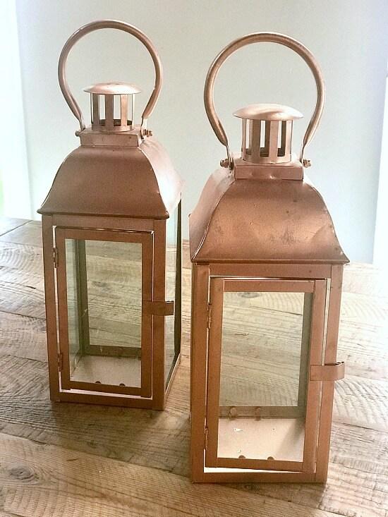 Copper lanterns for a succulent planter