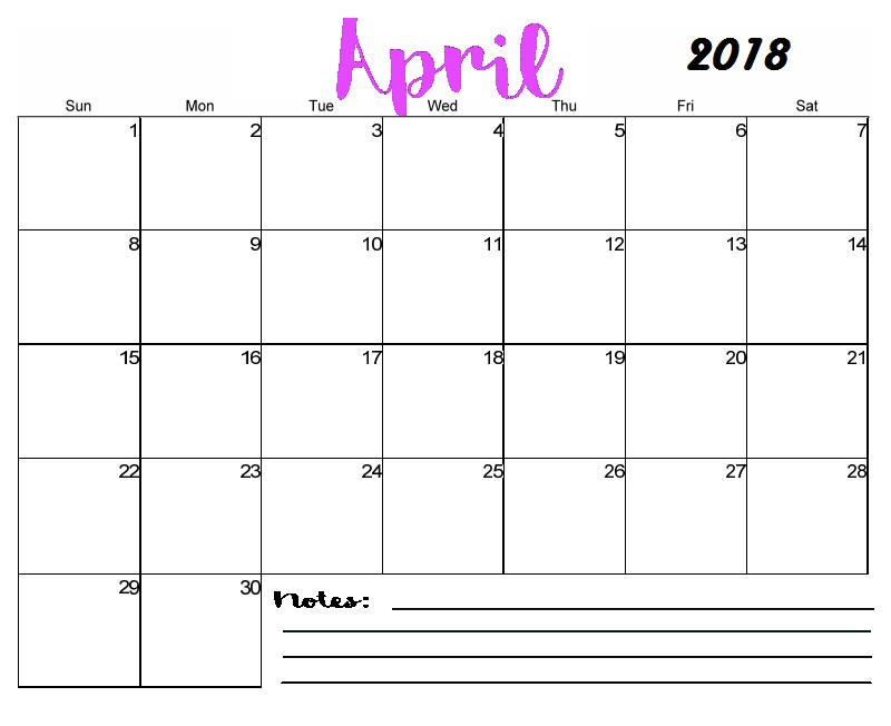 April 2018 Printable Calendar Templates - blank calendar printable