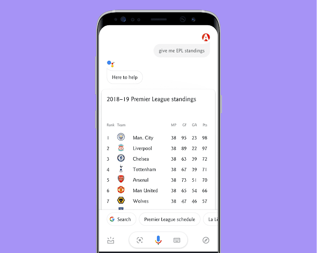 Get Latest Updates of Sports with google assistant