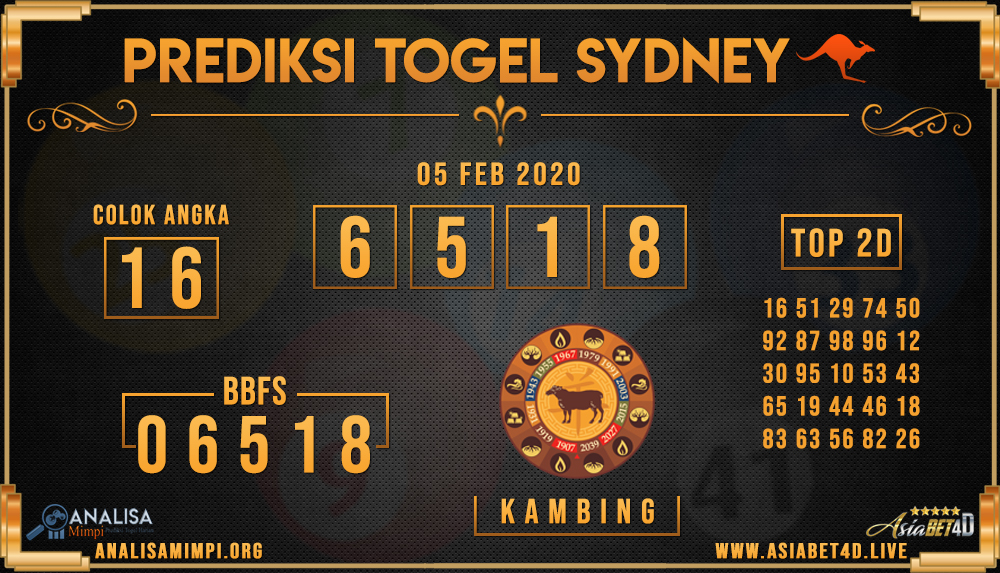 PREDIKSI TOGEL SYDNEY ASIABET4D RABU 05 FEB 2020