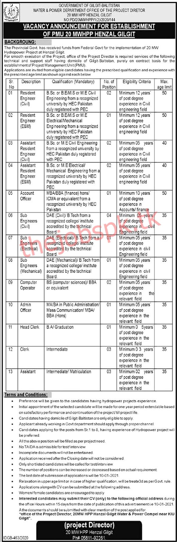 Latest Water & Power Department Gilgit-Baltistan Jobs 2021