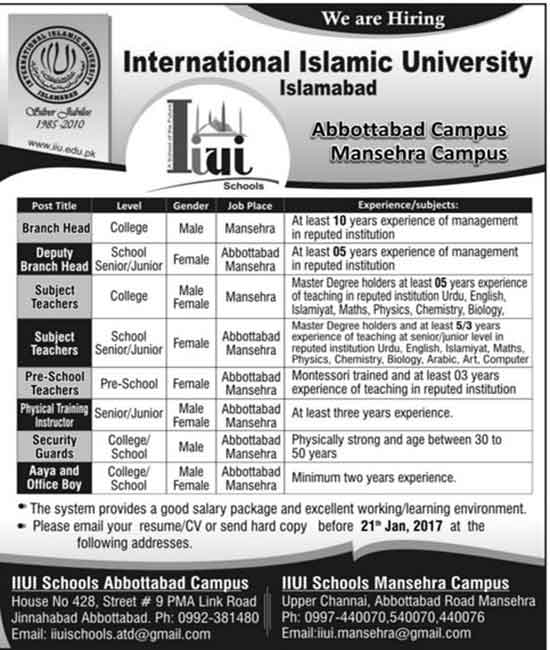 International Islamic University Islamabad Mansehra and Abbottabad Campus Jobs