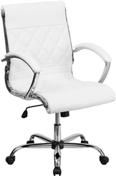 White Leather Designer Office Chair