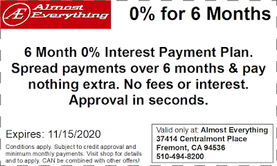 Coupon 6 Month Interest Free Payment Plan October 2020