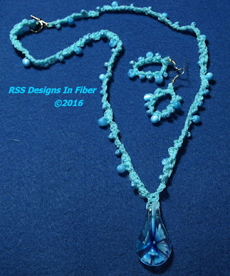 Necklace and Earrings Set with Aqua Blue