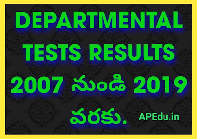 DEPARTMENTAL TEST RESULTS