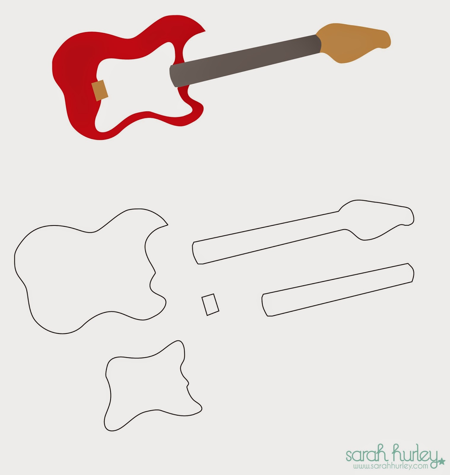 17 awsome guitar cake templates designs free for Guitar cut out template