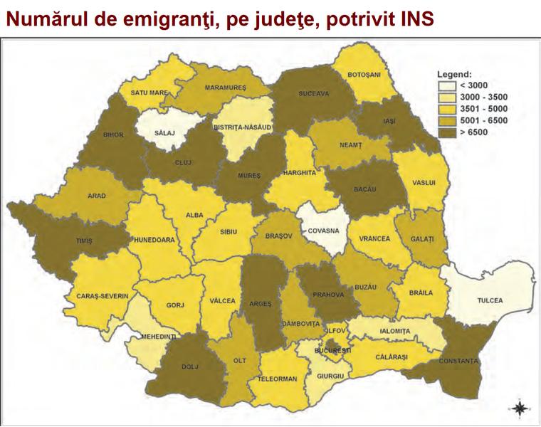Număr emigranți români pe județe