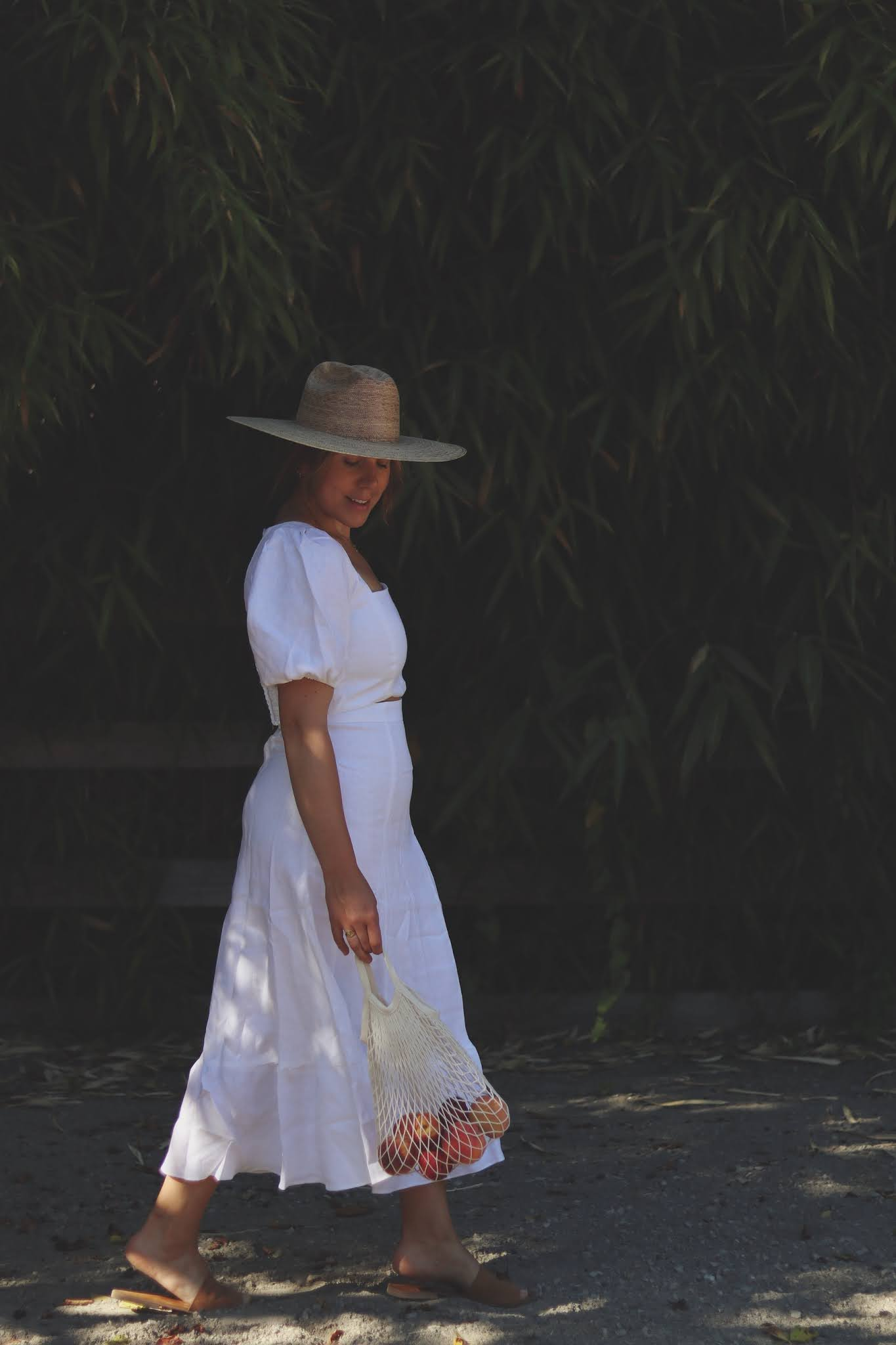 reformation linen two piece lack of color palm hat summer white outfit