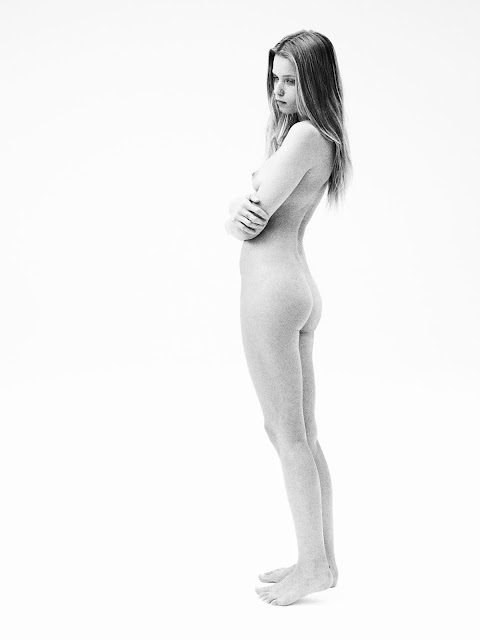 B&W nude photos of Abbey Lee Kershaw photographed by Willy Vanderperre