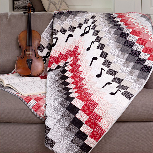 Bargello Music Quilt Free Pattern designed by Accuquilt