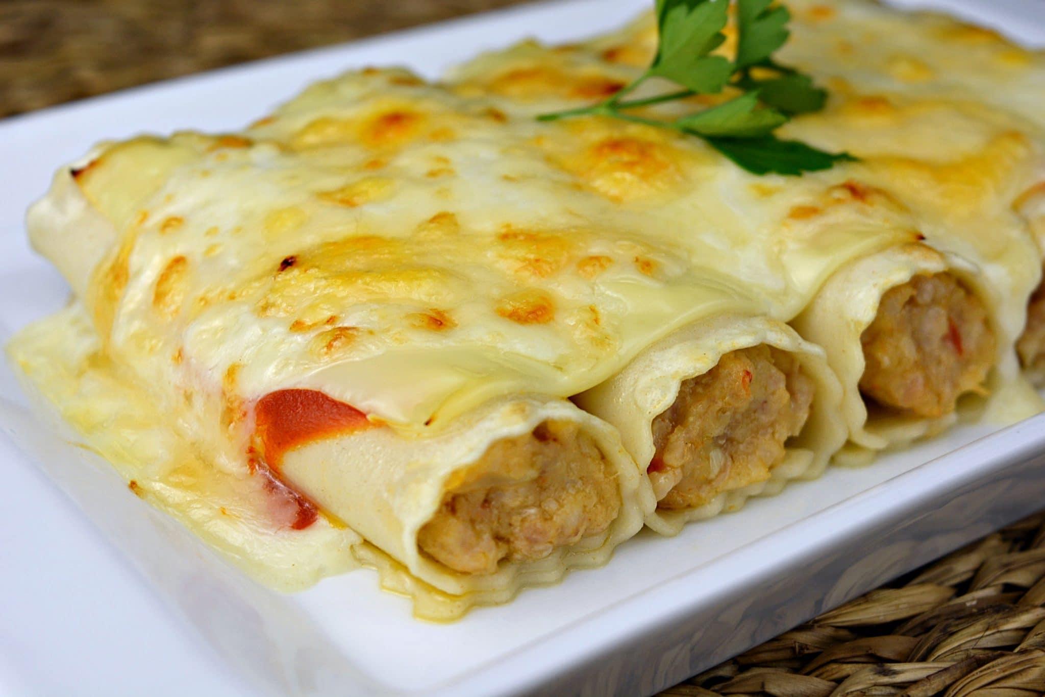 طريقة عمل الكانيلوني بالدجاج بالجبنة الرومي