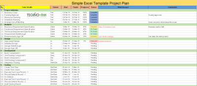 Simple Excel Template Project Plan