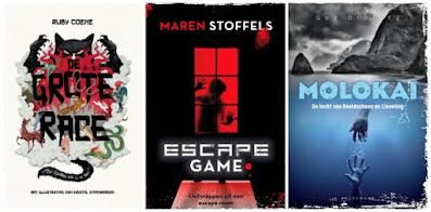 De grote race van Ruby Coene, Escape Game van Maren Stoffels, Molokai van Guy Didelez