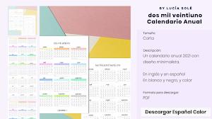 Calendarios 2021 para imprimir gratis (más de 20 diseños para elegir)