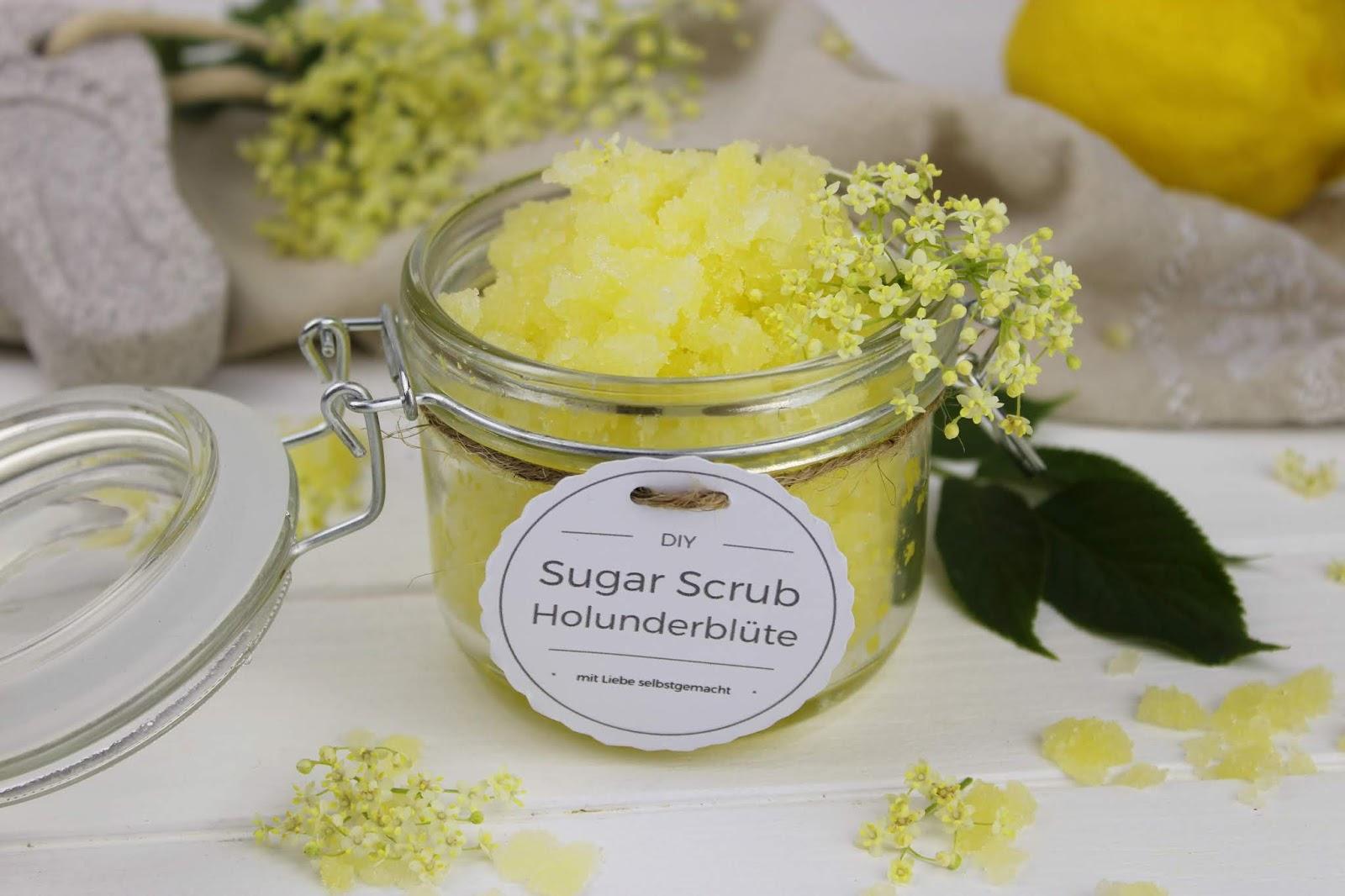 DIY - Holunderblüten Zitronen Sugar Scrub schnell und einfach selber machen
