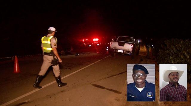Trecho foi interditado após acidente em Três Pontas; no detalhe, as vítimas Carlos e Josiel — Foto: Tarciso Silva/EPTV