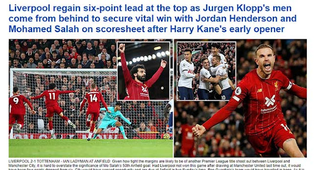 """Liverpool xuất sắc hạ Tottenham: Báo Anh ngợi ca """"trùm ngược dòng"""""""