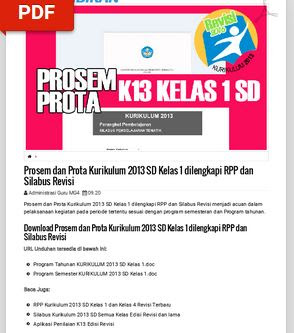 Download Prota, Promes dan KKM SD/MI Kelas 1 Semester 1 dan 2 Kurikulum 2013 Hasil Revisi, https://gurujumi.blogspot.com/