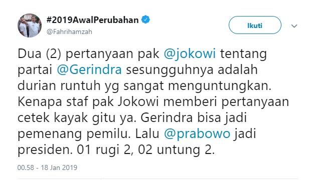Fahri: Ngapain Pak Jokowi Ngomongin Gerindra