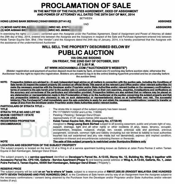 Proclamation of Sale Galleria Equine Park