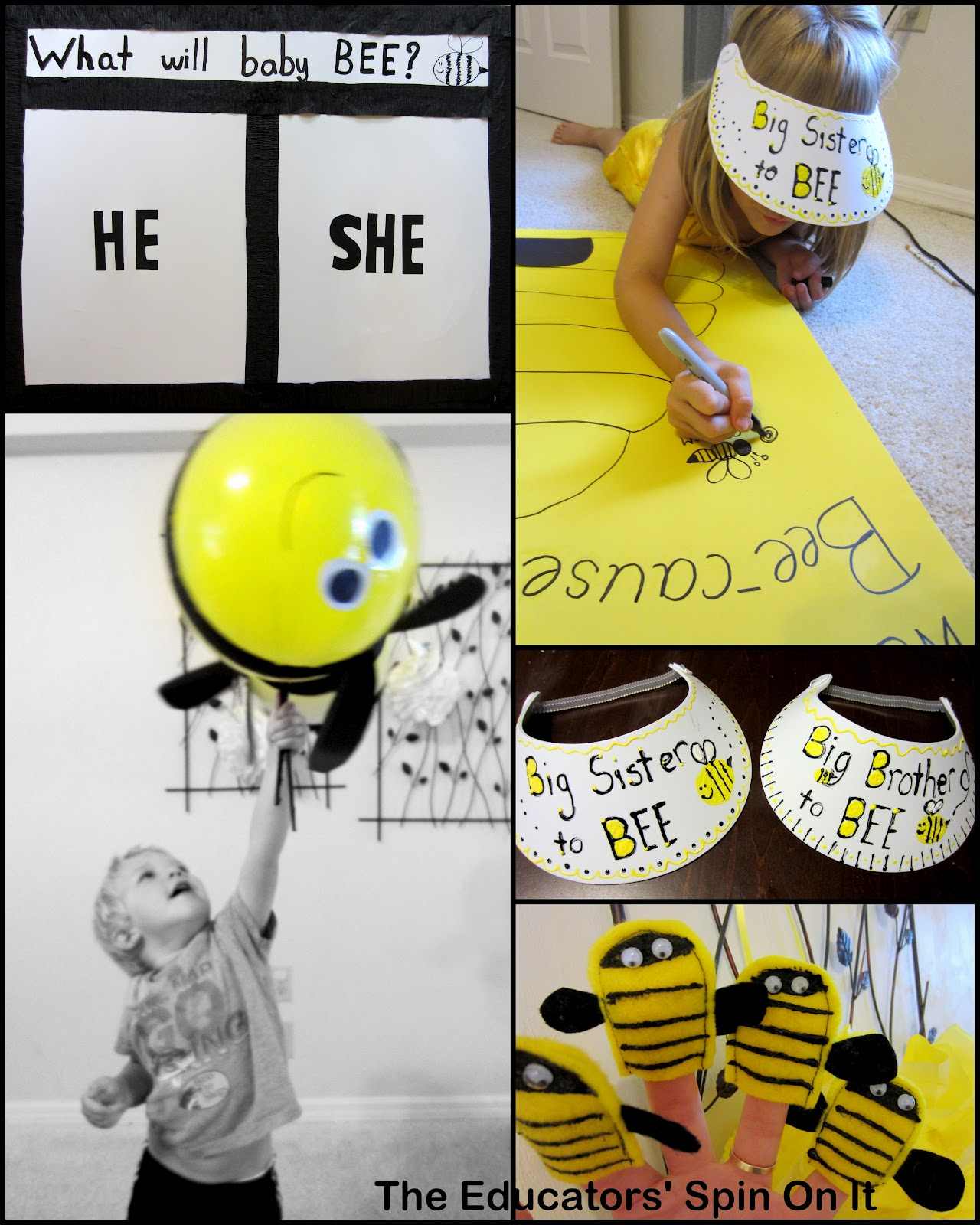 the whoel thing was pretty adorable and she got her two older kids involved in the party making details the secret answer was in the bee gender reveal