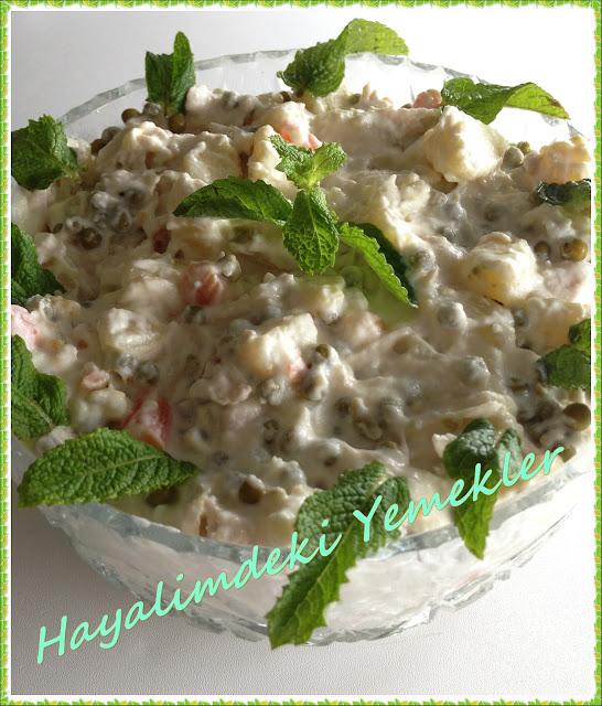 Patatesli  ve Yoğurtlu Tavuk göğsü Salatası tarifi, Patatesli Yoğurtlu Tavuk göğsü Salatası nasil yapilir