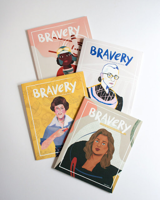 Prominent female figures on illustrated covers of Bravery Magazine