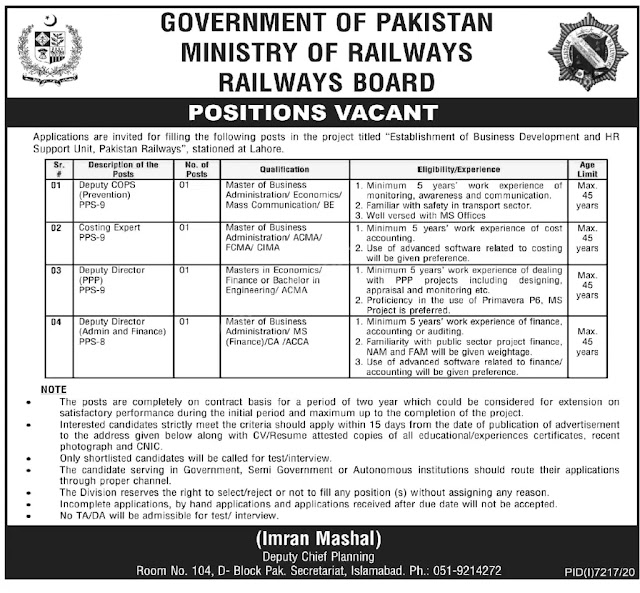 Pakistan New Govt Railway Jobs-Ministry of Railway- New Govt Jobs 2021
