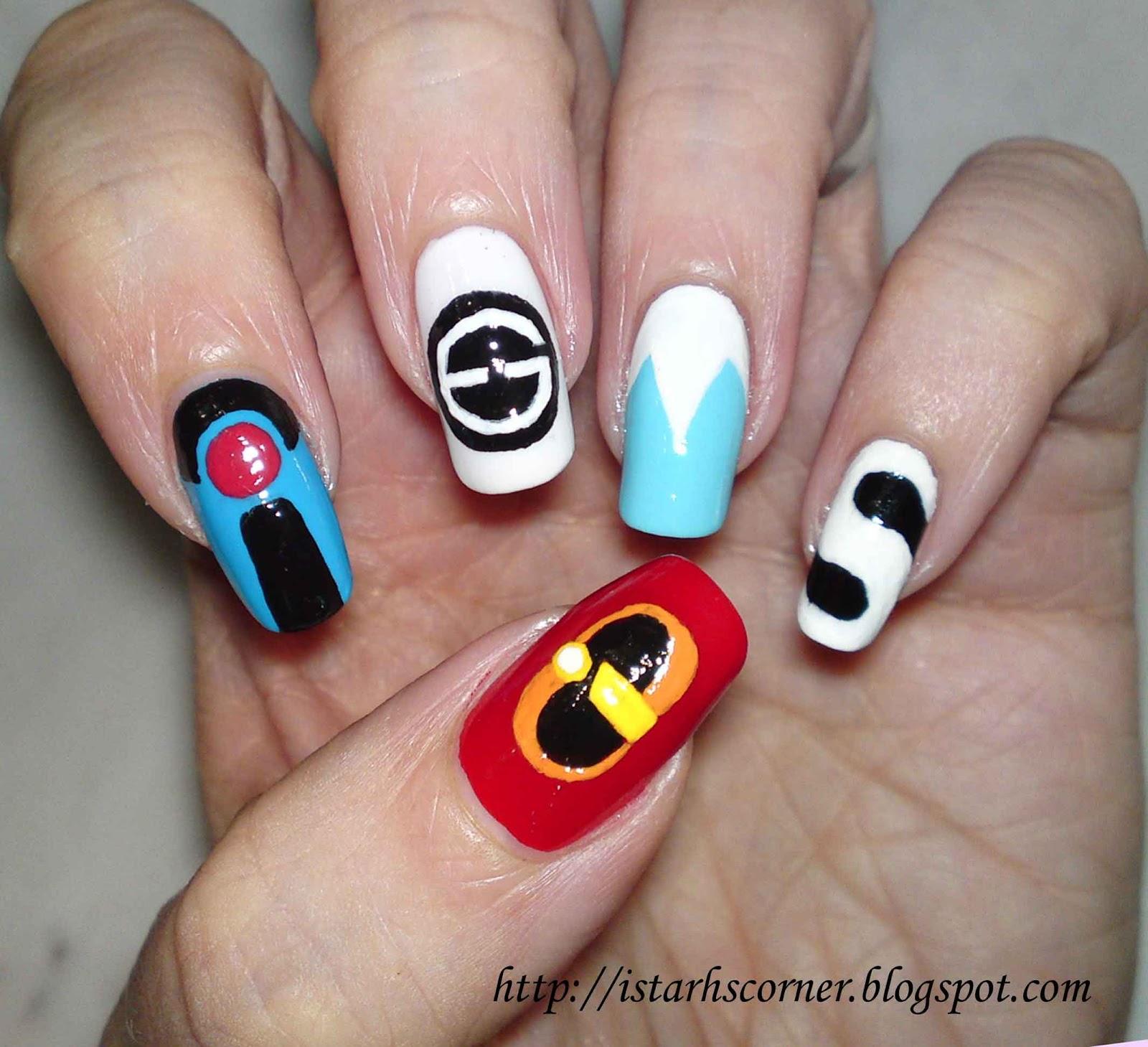 Q Riouser Q Riouser Nail Art: จับพลังลงเล็บ Incredibles Nails Art ลายเล็บครอบครัวมหัศจ