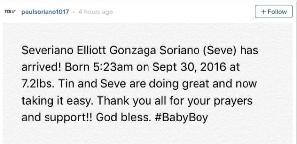 Tonii Gonzaga gives birth to a baby boy