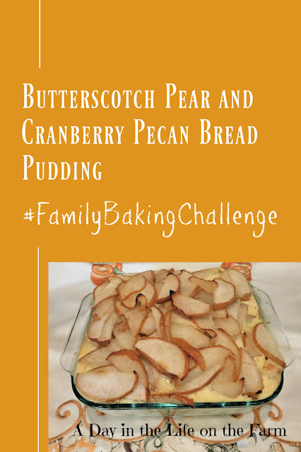 Butterscotch Pear and Cranberry Pecan Bread Pudding pin