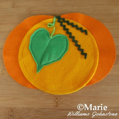Fall pumpkin with leaf made from fabric