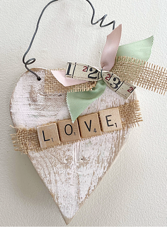 Heart with scrabble letters, bow and wire
