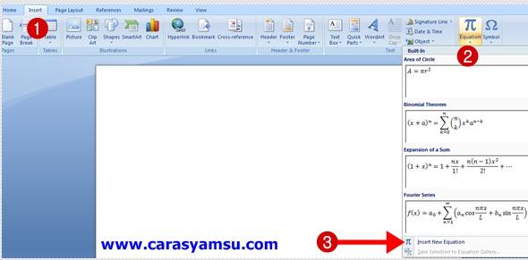 Cara  Mudah Membuat Derajat  Celcius di Ms Word dengan Fungsi Insert Equation