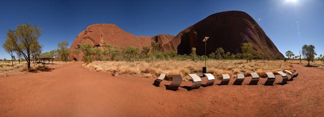 Mutitjulu Waterhole walk beside the rock, strong light, red sand, scrub and trees Uluru. Virtual Tour of Uluru-Kata Tjuta National Park and Sails Resort